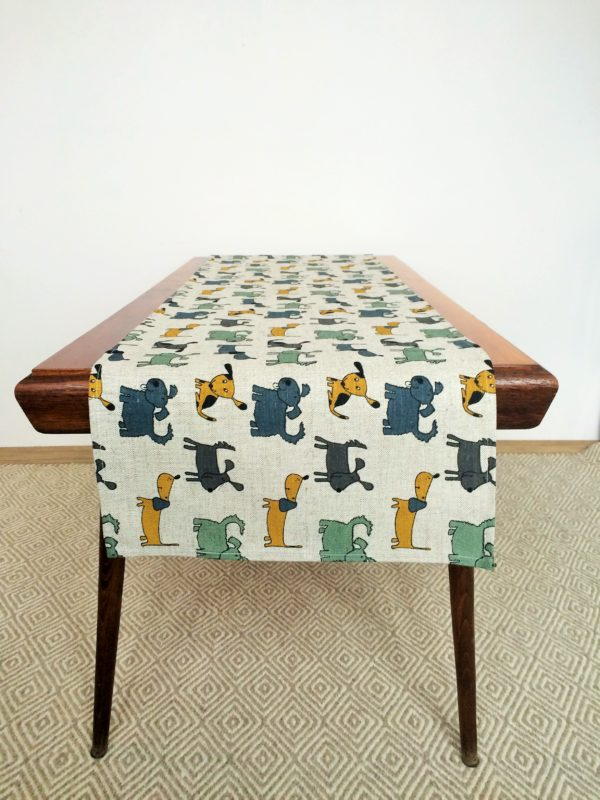 Pure 100% linen table runner. Handmade table linen. Happy dogs pattern.