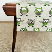 Pure 100% linen table runner. Handmade table linen. Green owls pattern.