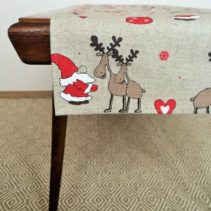 Pure 100% linen table runner. Handmade table linen. Christmas reindeers pattern.