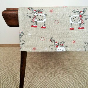 Pure 100% linen table runner. Handmade table linen. Christmas reindeer pattern.
