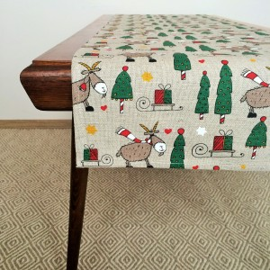 Pure 100% linen table runner. Handmade table linen. Christmas goat pattern.