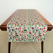 Pure 100% linen table runner. Handmade table linen. Fields flower pattern on grey.