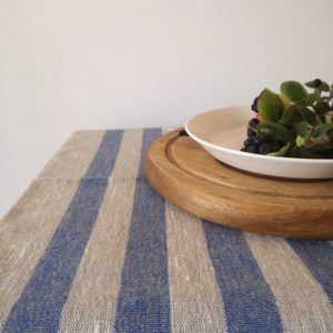 Pure 100% linen table runner. Handmade table linen. Rustic blue thin stripes table runner.