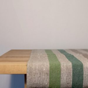 Pure 100% linen table runner. Handmade table linen. Rustic green stripes table runner.