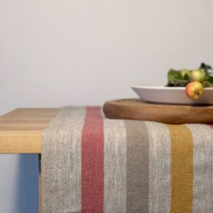Pure 100% linen table runner. Handmade table linen. Rustic yellow stripes table runner.