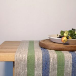 Pure 100% linen table runner. Handmade table linen. Rustic green & blue stripes table runner.