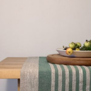 Pure 100% linen table runner. Handmade table linen. Rustic green thin stripes table runner.