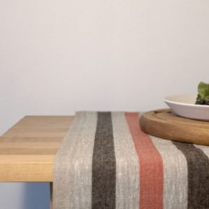 Pure 100% linen table runner. Handmade table linen. Rustic black & red stripes table runner.