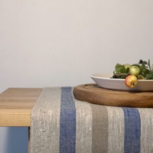 Pure 100% linen table runner. Handmade table linen. Rustic blue & beige stripes table runner.