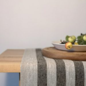 Pure 100% linen table runner. Handmade table linen. Rustic black thin stripes table runner.