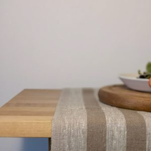 Pure 100% linen table runner. Handmade table linen. Rustic beige thin stripes table runner.