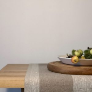 Pure 100% linen table runner. Handmade table linen. Rustic beige stripes table runner.