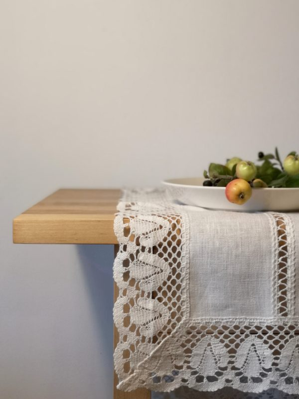 Pure 100% linen table runner. Handmade table linen. White color table runner with lace.