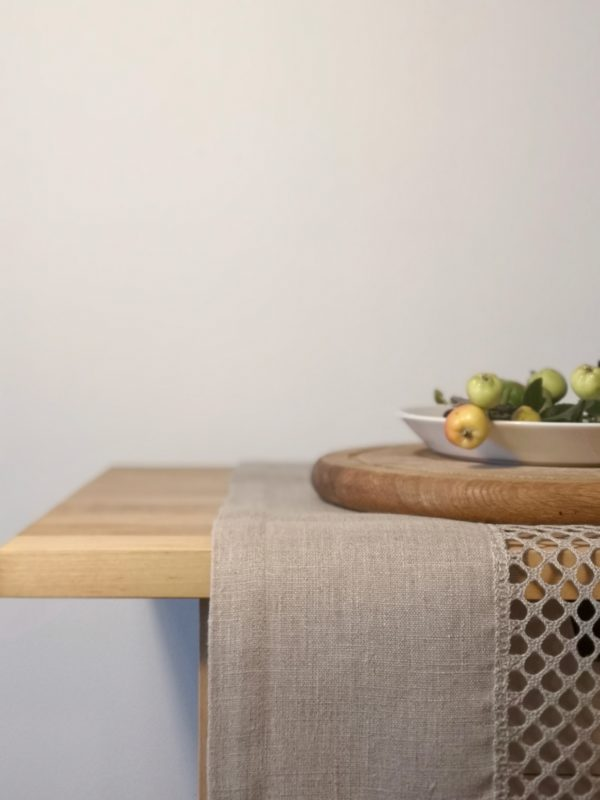 Pure 100% linen table runner. Handmade table linen. Beige color table runner.