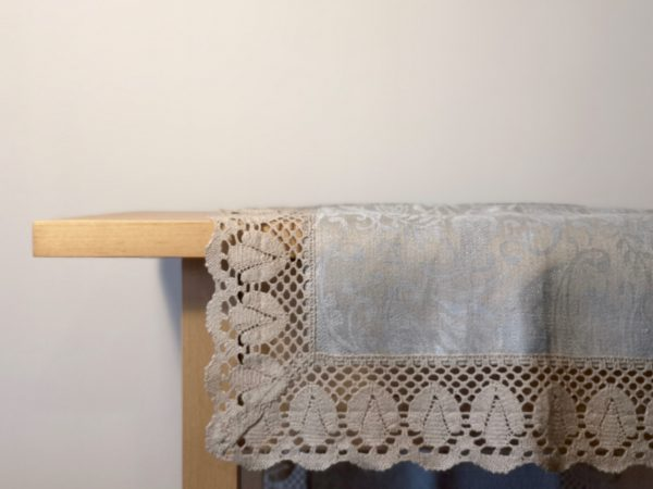 Pure 100% linen table runner. Handmade table linen. Light blue paisley pattern table runner with lace border.