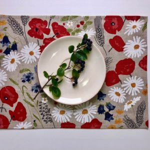 Pure 100% linen table placemats. Handmade table linen. Summer flower pattern on grey.
