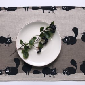 Pure 100% linen table placemats. Handmade table linen. Cats pattern on grey.
