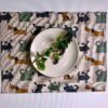Pure 100% linen table placemats. Handmade table linen. Happy dogs pattern on grey.