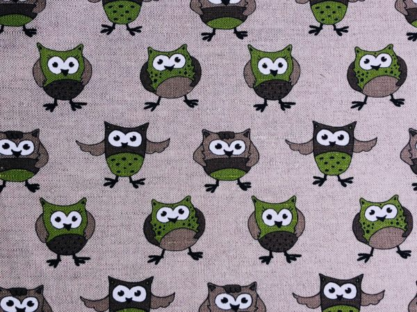 Pure 100% linen table placemats. Handmade table linen. Green owls pattern on grey.