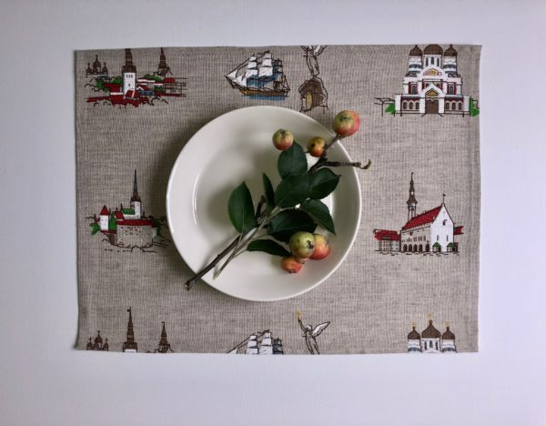 Pure 100% linen table placemats. Handmade table linen. Tallinn pattern on grey.