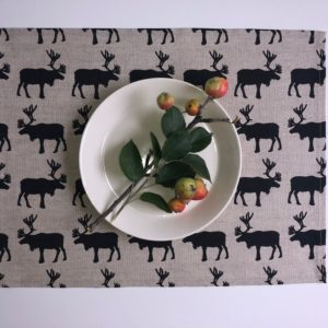 Pure 100% linen table placemats. Handmade table linen.Nordic Deer pattern on grey.