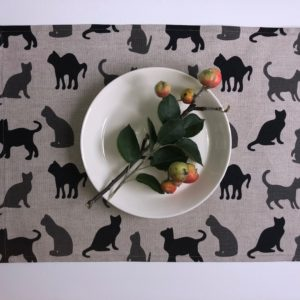 Pure 100% linen table placemats. Handmade table linen. Black & grey cats pattern on grey.