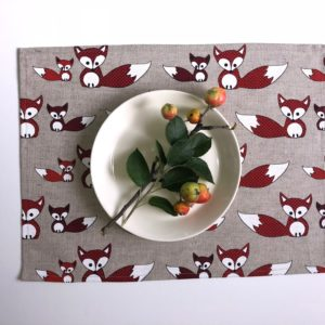 Pure 100% linen table placemats. Handmade table linen. Foxes pattern on grey.
