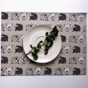 Pure 100% linen table placemats. Handmade table linen. Sheep pattern on grey.