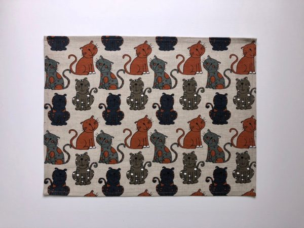 Pure 100% linen table placemats. Handmade table linen. Happy cats pattern on grey.