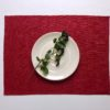 Pure 100% linen table placemats. Handmade table linen. Linen placemat in red color.