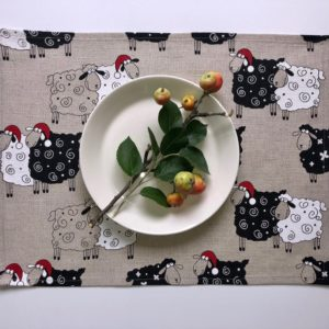 Pure 100% linen table placemats. Handmade table linen. Christmas sheep pattern on grey.
