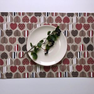 Pure 100% linen table placemats. Handmade table linen. Hearts pattern on grey.