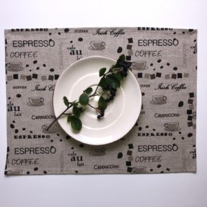 Pure 100% linen table placemats. Handmade table linen. Coffee pattern on grey.