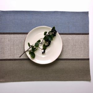 Pure 100% linen table placemats. Handmade table linen. Pastel stripe placemat.