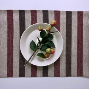 Pure 100% linen table placemats. Handmade table linen. Rustic beige stripes placemat.