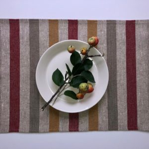 Pure 100% linen table placemats. Handmade table linen. Rustic yellow stripes placemat.