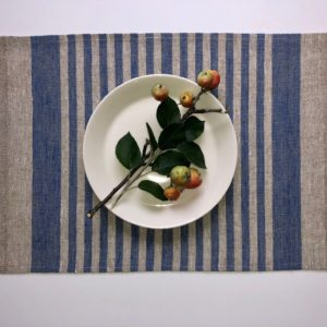 Pure 100% linen table placemats. Handmade table linen. Rustic blue stripes placemat.