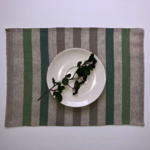 Pure 100% linen table placemats. Handmade table linen. Rustic green stripes placemat.