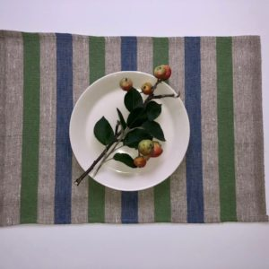 Pure 100% linen table placemats. Handmade table linen. Rustic green & blue stripes placemat.