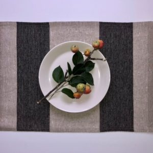 Pure 100% linen table placemats. Handmade table linen. Rustic black stripes placemat.