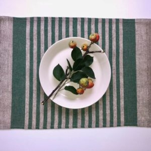 Pure 100% linen table placemats. Handmade table linen. Rustic green thin stripes placemat.