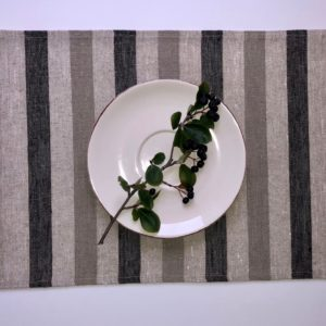 Pure 100% linen table placemats. Handmade table linen. Rustic black & grey stripes placemat.