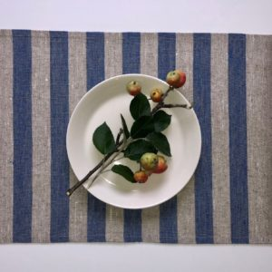 Pure 100% linen table placemats. Handmade table linen. Rustic blue thick stripes placemat.