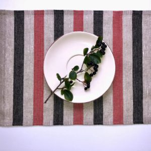 Pure 100% linen table placemats. Handmade table linen. Rustic black & red stripes placemat.