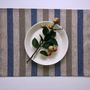 Pure 100% linen table placemats. Handmade table linen. Rustic blue & beige stripes placemat.