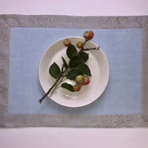 Linen Placemat with Classic Light Blue Silver Light Blue Paisley Border