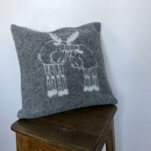 "Wool pillow case in ""Happy Moose"" pattern"