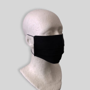 Black linen reusable washable mask with straps