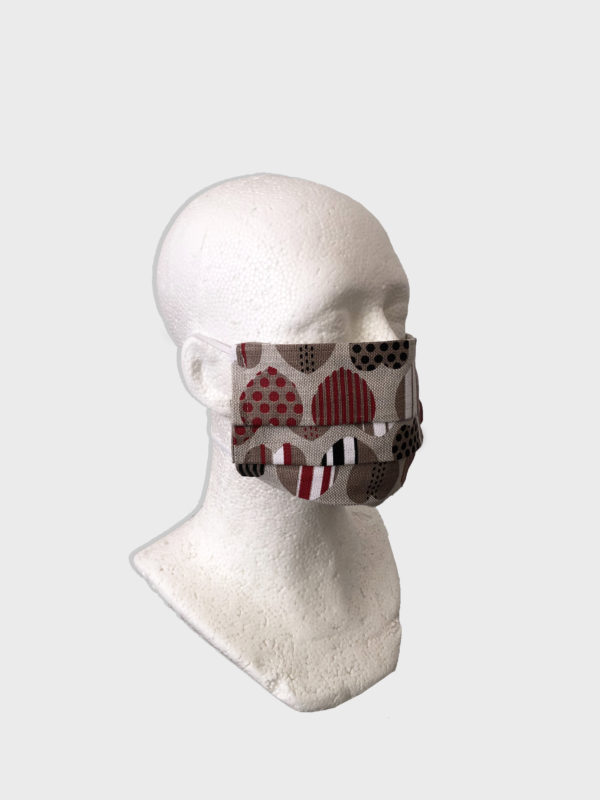 Heart pattern design linen reusable washable mask with straps.