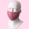 Pink linen reusable washable mask with straps